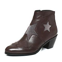 Joy&Peace/真美诗2017冬季专柜同款啡/深啡色牛皮粗跟中跟女皮靴子短靴ZW438DD7