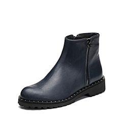 Joy&Peace/真美诗2017冬季专柜同款深兰色牛皮女皮靴子方跟短靴YSX59DD7