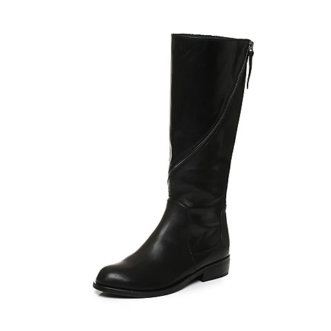 Joy&Peace/真美诗2017冬季专柜同款黑色牛皮女皮靴高筒长靴ZNX62DG7