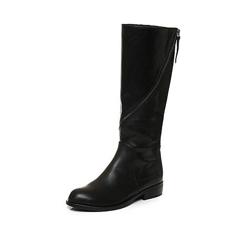 Joy&Peace/真美诗冬季专柜同款黑色牛皮女皮靴高筒长靴ZNX62DG7