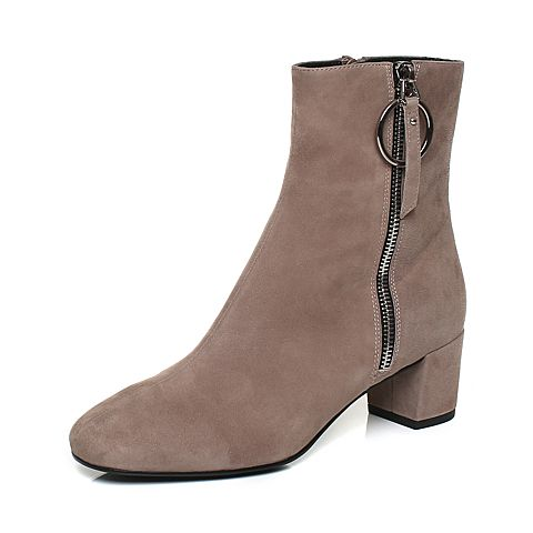 Joy&Peace/真美诗冬季专柜同款灰色羊绒皮靴子粗跟中跟中靴女靴YNS35DZ7