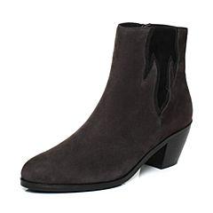 Joy&Peace/真美诗2017冬季专柜同款灰/黑色羊绒皮粗跟高跟皮靴短靴女靴子ZW436DD7