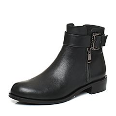 Joy&Peace/真美诗2017冬季专柜同款墨绿色牛皮女皮靴短筒靴皮带扣短靴ZM248DD7
