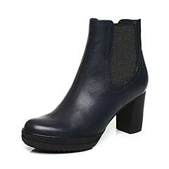 Joy&Peace/真美诗2017冬季专柜同款深兰色牛皮女靴子粗跟高跟短筒靴ZV936DD7