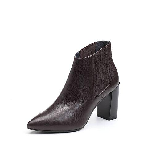 JoyPeace真美诗2017冬季专柜同款深啡色牛皮女皮靴粗跟高跟短靴尖头靴子ZB781DD7