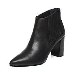 JoyPeace真美诗2017冬季专柜同款黑色牛皮女皮靴粗跟高跟短靴尖头靴子ZB781DD7