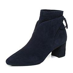 Joy&Peace真美诗2017冬季专柜同款深兰色羊绒皮女皮靴粗跟短靴中跟及踝靴YNP22DD7