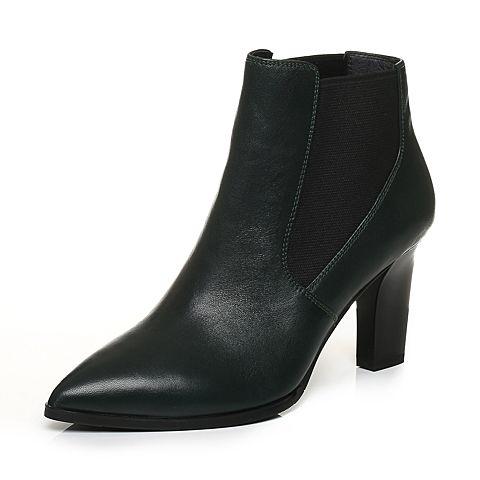 Joy&Peace/真美诗冬季专柜同款墨绿色牛皮女皮靴粗跟短靴高跟靴子ZB727DD7