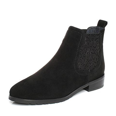 Joy&Peace/真美诗冬季专柜同款黑色羊绒皮女靴子方跟中跟短靴ZN524DD7
