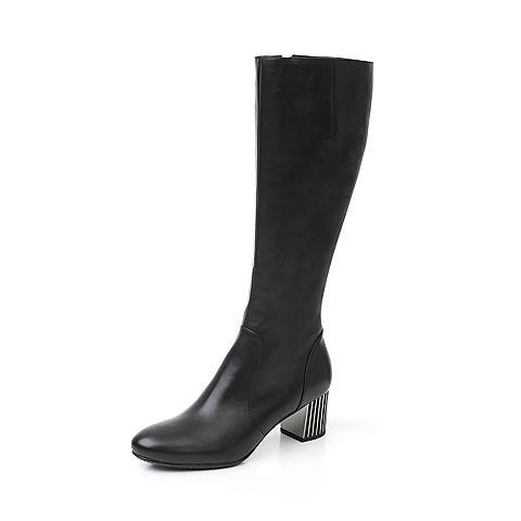 Joy&Peace/真美诗冬季专柜同款黑色牛皮女皮靴粗跟长靴YNX42DG7