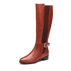 Joy&Peace/真美诗2017冬季专柜同款棕色牛皮女靴皮带扣饰方跟中跟长靴过膝靴ZN542DG7