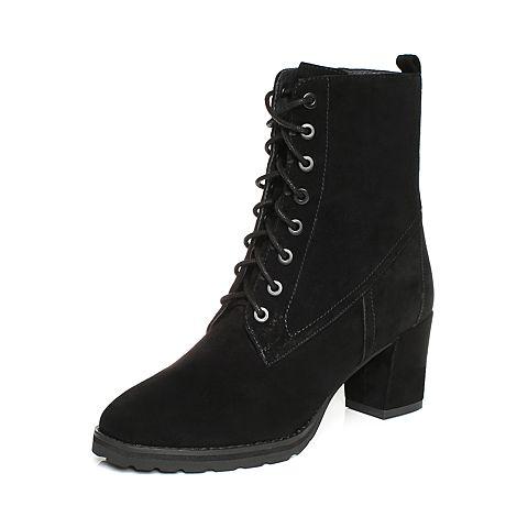 JoyPeace真美诗2017冬季专柜同款黑色羊绒皮女靴子绑带皮靴中靴粗跟高跟马丁靴YNX35DZ7