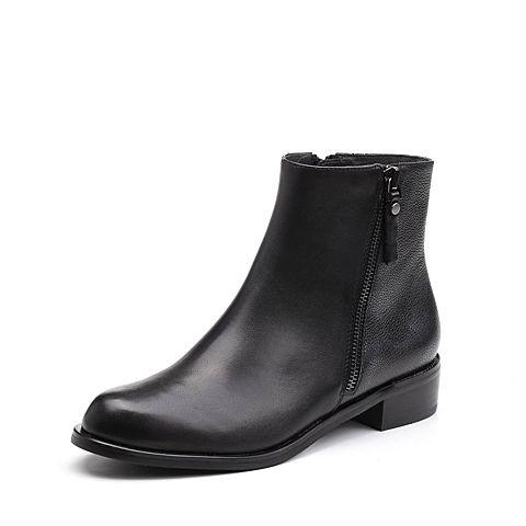 Joy&Peace/真美诗2017冬季专柜同款黑色牛皮女皮靴粗跟小短靴ZM240DD7