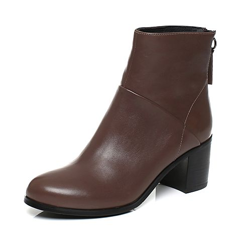 Joy&Peace/真美诗冬季专柜同款灰色(绒里)打蜡牛皮粗跟高跟短靴女靴子ZWZ55DD7