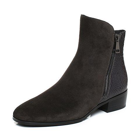Joy&Peace真美诗冬季专柜同款灰/深啡色牛皮女靴子粗跟短靴鳄鱼纹及踝靴YNW23DD7