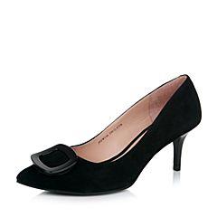 Joy&Peace/真美诗秋季专柜同款黑色羊绒皮女单鞋ZW134CQ7
