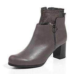 Joy&Peace/真美诗2017冬季专柜同款深灰/黑金色女皮靴粗跟短靴ZV926DD7