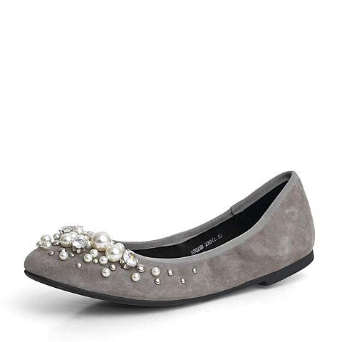JoyPeace真美诗秋季专柜同款灰色羊绒皮平底休闲鞋单鞋女17Q23CQ7