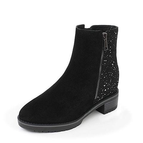 Joy&Peace/真美诗2017冬季专柜同款黑色(毛里)牛皮女靴子皮靴粗跟中靴ZN625DZ7
