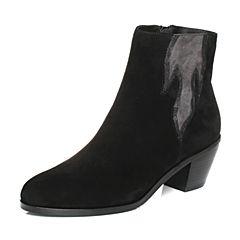 Joy&Peace/真美诗2017冬季专柜同款黑/深灰色(绒里)羊绒皮粗跟高跟皮靴短靴女靴子ZW436DD7