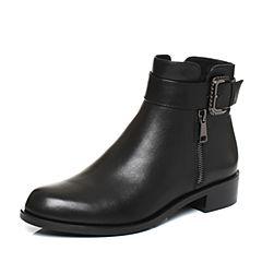 Joy&Peace/真美诗2017冬季专柜同款黑色(绒里)牛皮女皮靴短筒靴皮带扣短靴ZM248DD7