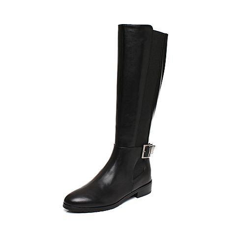 Joy&Peace/真美诗2017冬季专柜同款黑色牛皮女靴皮带扣饰方跟中跟长靴过膝靴ZN542DG7
