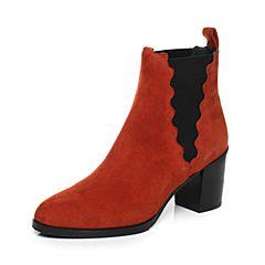 JoyPeace真美诗冬季专柜同款桔红色羊绒皮女皮靴粗跟短筒靴高跟靴子短靴YNY22DD7