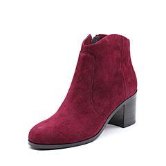 Joy&Peace/真美诗2017冬季专柜同款酒红色羊绒皮女皮靴粗跟小短靴ZWZ50DD7