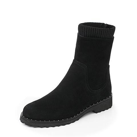JoyPeace真美诗冬季专柜同款黑色皮靴女靴子中靴袜靴ZNX50DZ7
