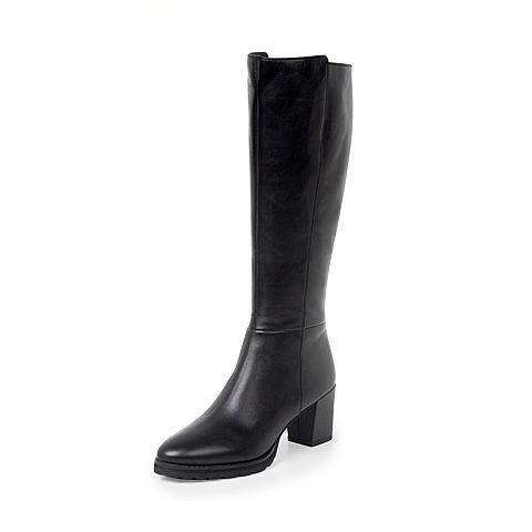 JoyPeace真美诗冬季专柜同黑色牛皮粗跟高跟女皮靴过膝长靴YNX41DG7