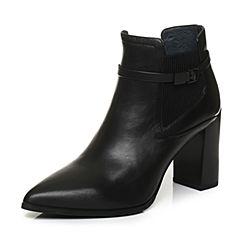 Joy&Peace/真美诗2017冬季专柜同款黑色牛皮女皮靴粗跟小短靴尖头靴子ZB722DD7