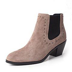 Joy&Peace/真美诗2017冬季专柜同款灰色羊绒皮女皮靴短筒靴粗跟高跟靴子及踝靴ZW437DD7