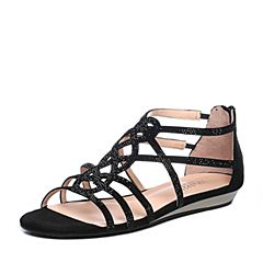 Joy&Peace/真美诗夏季专柜同款黑色羊绒皮休闲坡跟后拉链女凉鞋ZJ306BL7