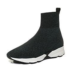 Joy&Peace/真美诗2017冬季专柜同款绿/黑色编织布女休闲短靴袜靴ZT625DD7