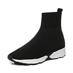 Joy&Peace/真美诗2017冬季专柜同款黑色编织布女休闲短靴袜靴ZT625DD7