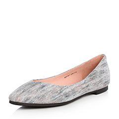 Joy&Peace/真美诗2018春季专柜同款灰色羊皮撞色平底单鞋女718-7AQ8