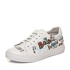 Joy&Peace/真美诗2018春季专柜同款白色牛皮女休闲学院风绑带鞋ZW747AM8