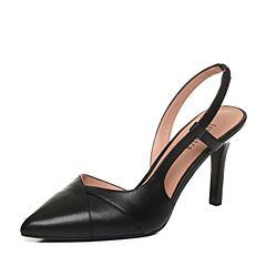 Joy&Peace/真美诗2018春季专柜同款黑色牛皮细高高跟尖头女后空凉鞋YOR03AH8