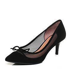 Joy&Peace/真美诗2018春季专柜同款黑色绒皮布拼接细跟单鞋女YOS08AQ8