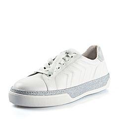 Joy&Peace/真美诗2018春季专柜同款白/银色羊皮休闲运动风绑带单鞋女YOJ03AM8