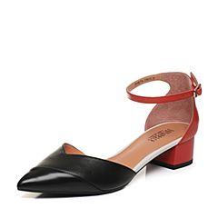 Joy&Peace/真美诗2018春季专柜同款黑/红色一字带粗跟中空凉鞋女ZR774AK8