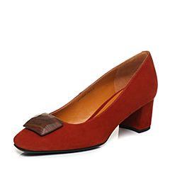 Joy&Peace/真美诗2018春季专柜同款红色羊绒皮粗跟方头女单鞋YOG04AQ8