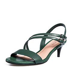 Joy&Peace/真美诗2018夏季专柜同款深绿色羊皮革细跟高跟一字带凉鞋女YNL31BL8