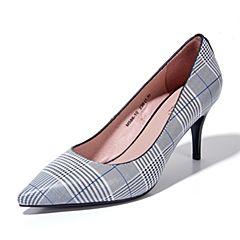 Joy&Peace/真美诗2018春季专柜同款黑白色牛皮细跟高跟浅口单鞋女66-10AQ8