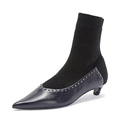 Joy&Peace/真美诗2018冬新款时尚猫跟女皮靴YPJ22DZ8