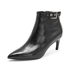 Joy&Peace/真美诗2018冬季新品尖头细跟牛皮女短靴YPB25DD8