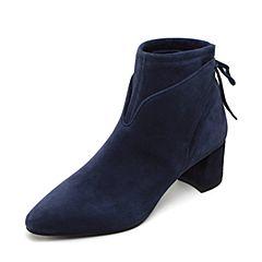 Joy&Peace真美诗冬季羊绒皮女皮靴粗跟短靴中跟及踝靴YNP22DD8