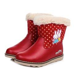 MIFFY/米菲童鞋2014冬季PU/纺织物红色女中童童靴雪地靴DM0189
