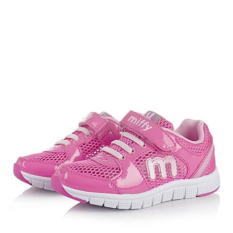 MIFFY/米菲童鞋春季桃红PU/网布女小中童运动鞋跑步鞋DM0325