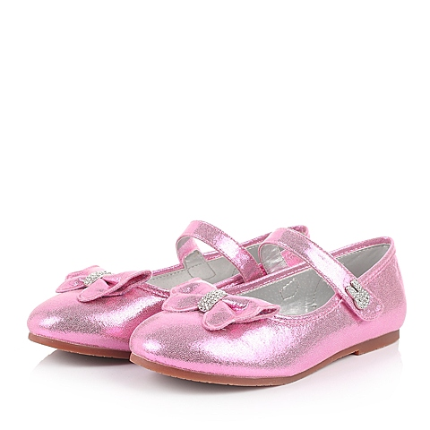 MIFFY/米菲童鞋春季新款PU粉色女中童皮鞋DM0286